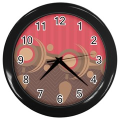 Background Tribal Ethnic Red Brown Wall Clock (black) by Simbadda
