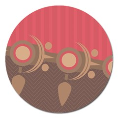 Background Tribal Ethnic Red Brown Magnet 5  (round) by Simbadda