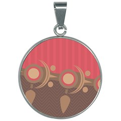 Background Tribal Ethnic Red Brown 30mm Round Necklace by Simbadda