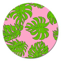 Leaves Tropical Plant Green Garden Magnet 5  (round)