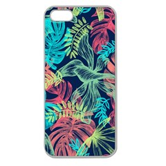 Leaves Tropical Picture Plant Apple Seamless Iphone 5 Case (clear)