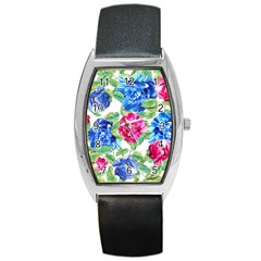 Flowers Floral Picture Flower Barrel Style Metal Watch