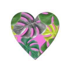 Tropical Greens Leaves Design Heart Magnet by Simbadda