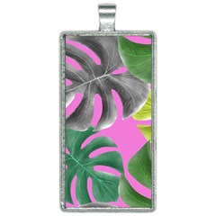 Tropical Greens Leaves Design Rectangle Necklace by Simbadda