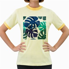 Leaves Tropical Blue Green Nature Women s Fitted Ringer T Shirt