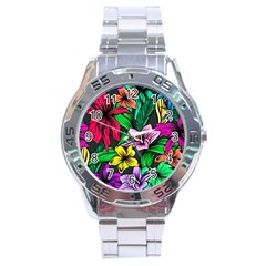 Hibiscus Flower Plant Tropical Stainless Steel Analogue Watch
