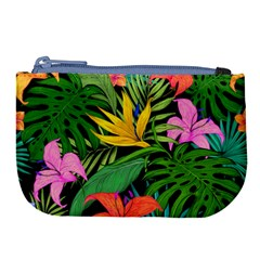 Tropical Greens Leaves Design Large Coin Purse by Simbadda