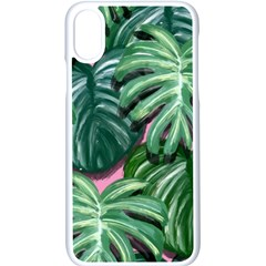 Painting Leaves Tropical Jungle Iphone Xs Seamless Case (white) by Simbadda