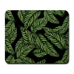 Leaves Black Background Pattern Large Mousepads