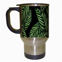 Leaves Black Background Pattern Travel Mugs (white)