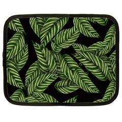 Leaves Black Background Pattern Netbook Case (xxl) by Simbadda