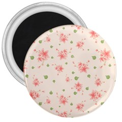 Pink Flowers Pattern Spring Nature 3  Magnets by TeesDeck