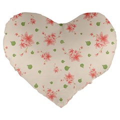Pink Flowers Pattern Spring Nature Large 19  Premium Heart Shape Cushions by TeesDeck