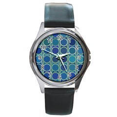 Blue Circles Round Metal Watch by TimelessFashion