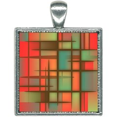 Chaos In Red And Green Square Necklace by TimelessFashion