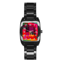 Colorful Abstract  Stainless Steel Barrel Watch by TimelessFashion