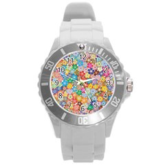 Floral Desire Round Plastic Sport Watch (l) by TimelessFashion
