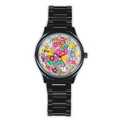 Flower Mix Stainless Steel Round Watch by TimelessFashion