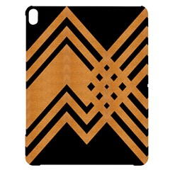 Wood Zigzag Texture Apple Ipad Pro 12 9   Black Uv Print Case