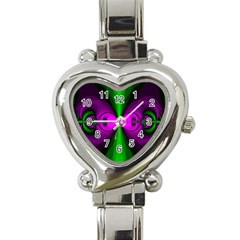 Abstract Artwork Fractal Background Green Purple Heart Italian Charm Watch