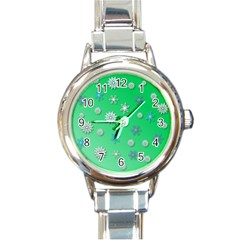 Snowflakes Winter Christmas Green Round Italian Charm Watch