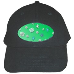 Snowflakes Winter Christmas Green Black Cap