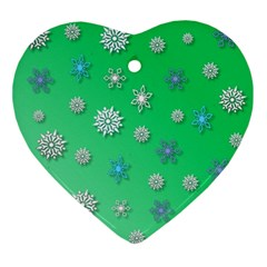 Snowflakes Winter Christmas Green Ornament (heart)