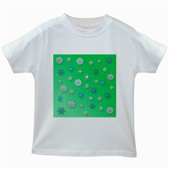 Snowflakes Winter Christmas Green Kids White T Shirts