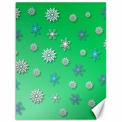 Snowflakes Winter Christmas Green Canvas 12  X 16