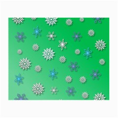 Snowflakes Winter Christmas Green Small Glasses Cloth (2 Sides)