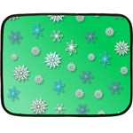 Snowflakes Winter Christmas Green Double Sided Fleece Blanket (Mini)  35 x27  Blanket Front