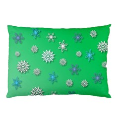 Snowflakes Winter Christmas Green Pillow Case (two Sides)