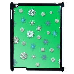 Snowflakes Winter Christmas Green Apple Ipad 2 Case (black)