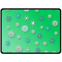 Snowflakes Winter Christmas Green Double Sided Fleece Blanket (large)