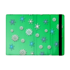 Snowflakes Winter Christmas Green Ipad Mini 2 Flip Cases