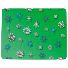 Snowflakes Winter Christmas Green Jigsaw Puzzle Photo Stand (rectangular)