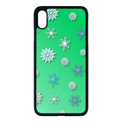 Snowflakes Winter Christmas Green Iphone Xs Max Seamless Case (black)