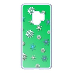 Snowflakes Winter Christmas Green Samsung Galaxy S9 Seamless Case(white)