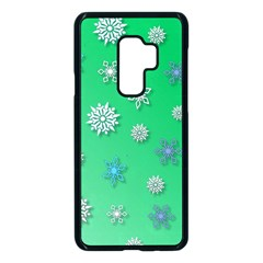Snowflakes Winter Christmas Green Samsung Galaxy S9 Plus Seamless Case(black)