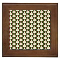 Pattern Flowers White Green Framed Tiles