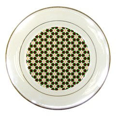 Pattern Flowers White Green Porcelain Plates