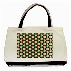 Pattern Flowers White Green Basic Tote Bag