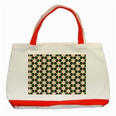 Pattern Flowers White Green Classic Tote Bag (red) by HermanTelo