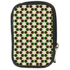 Pattern Flowers White Green Compact Camera Leather Case by HermanTelo