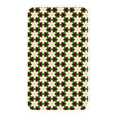 Pattern Flowers White Green Memory Card Reader (rectangular)