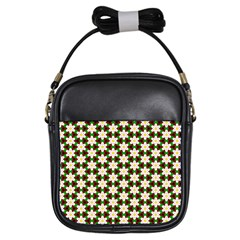 Pattern Flowers White Green Girls Sling Bag by HermanTelo