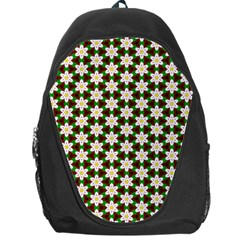 Pattern Flowers White Green Backpack Bag