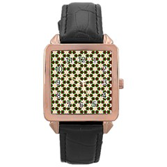 Pattern Flowers White Green Rose Gold Leather Watch