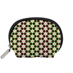Pattern Flowers White Green Accessory Pouch (small)