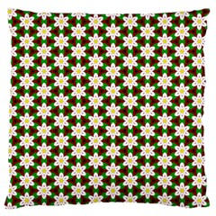 Pattern Flowers White Green Large Flano Cushion Case (one Side)